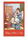 Happy Mothers Day, Victorian Mom with Kids Poster