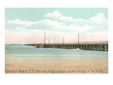 Longest Wooden Bridge, Hampton Beach, New Hampshire Premium Giclee Print