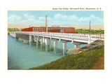 Queen City Bridge, Merrimack River, Manchester, New Hampshire Print
