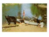 Bear Family in Canoe, Kid Screaming Poster