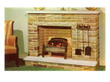 Fake Fireplace, Retro Photo