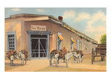 Burros with Firewood, La Fonda, Santa Fe, New Mexico Prints