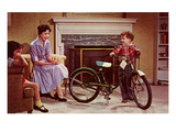 Kid with Bike in Living Room, Retro Prints