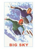 Couple Skiing, Big Sky, Montana Poster