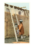 Water Carrier in Tesuque Pueblo, New Mexico Prints