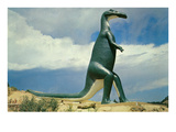 Duck-Billed Dinosaur, Retro - Art Print