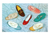 Assortment of Slippers, Retro Prints