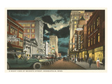 Moon over Seventh Street, Minneapolis, Minnesota Prints