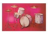 Drum Set with Pink Background Posters