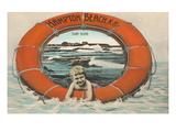Hampton Beach, Boy in Lifesaver, New Hampshire Prints