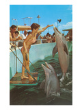 Lady in Bikini Feeding Porpoise Art