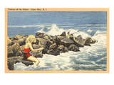 Fishing off Jetty, Cape May, New Jersey Prints
