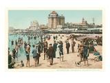 Vintage Atlantic City Beach Scene, New Jersey Kunstdruck