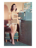 Woman in Bathing Suit with File Cabinet, Retro Photo