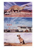 Highway Attractions, Dinosaurs, Retro Poster
