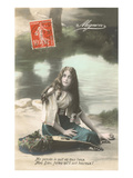 French Girl with Mandolin by River Posters