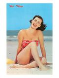 Hi There, Girl on Beach, Retro Kunstdrucke