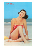Hi There, Girl on Beach, Retro Art