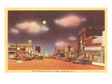 Moon over Hay Street, Fayetteville, North Carolina Prints