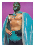 Mexican Wrestler in Turquoise Cape Poster