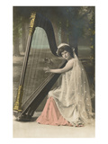 Lady Playing Harp Posters