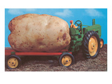 Toy Tractor Hauling Giant Potato Art