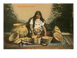 Pima Indian with Baskets Prints