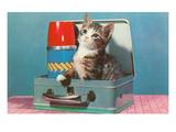 Kitten in a Lunchbox, Retro Art Print