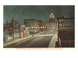 Night, Michigan Avenue, Lansing, Michigan Prints