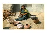 Hopi Woman Making Pottery Print