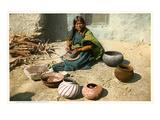 Hopi Woman Making Pottery Print