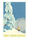Ski Montana, Snow on Pine Tree Affiches
