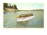 Speedboat in Yellowstone Lake, Montana Prints