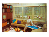Woman Reading Plans in Living Room, Retro Posters