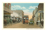 Early Street Scene, Matamoros, Mexico Poster