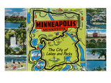 Map and Scenes of Minneapolis, Minnesota Prints