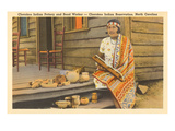 Cherokee Indian with Pottery, North Carolina Prints