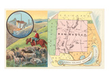 New Mexico Map, Sheep, Mining Art