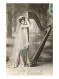 St. Cecile Posing with Harp Art