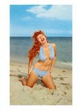 Laughing Redhead on Beach Print