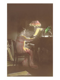 Old-Fashioned Lady at the Piano Prints