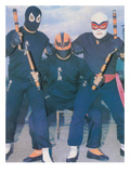 Ninja Mexican Wrestlers with Nunchuks Posters