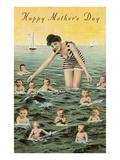 Happy Mothers Day, Babies in Ocean Prints
