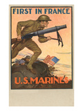 First in France, US Marines Poster