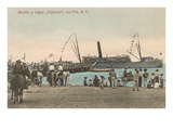 Wharf and Steamship, La Paz, Mexico Prints