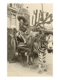 Woman in Zebra Cart, Tijuana, Mexico Print