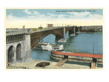 Eads Bridge and Riverboat, St. Louis, Missouri Posters