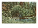 Fishing on the Manistee River, Michigan Prints