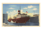 Freighter in Davis Lock, Sault Ste. Marie, Michigan Posters