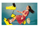 Girl on Abstract Rocking Horse, Retro Print